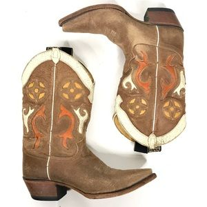 Justin Leather Cowboy Cowgirl Boots Size 8